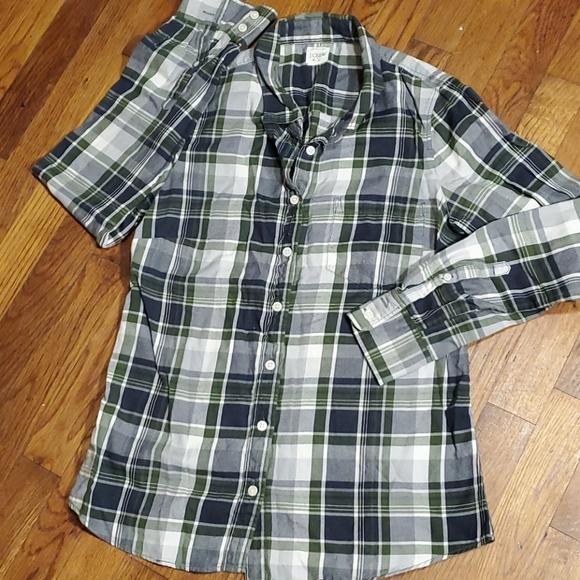 3/$30 J CREW blue & navy plaid button down shirt